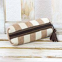 Leather accented cotton cosmetic bag, 'New Earth' - Brown & White Leather Accent Handwoven Cotton Cosmetic Bag