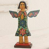 Wood sculpture, 'Angel of Harmony' - Artisan Crafted Antique-Style Angel Sculpture in Pinewood