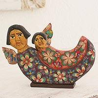 Wood sculpture, 'Protective Angels' - Guatemalan Hand Carved Floral Angel Sculpture