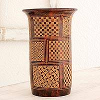 Terracotta decorative vase, 'Pattern of Creativity' - Artisan Crafted Brown and White Decorative Terracotta Vase