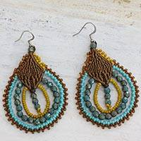 Beaded dangle earrings, 'Inspiring Morning' - Hand Crafted Hook Earrings Guatemalan Beaded Jewelry