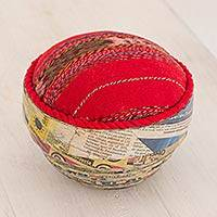 Recycled paper and cotton decorative bowl, 'Santiago Skirt' - Cotton and Recycled Paper Decorative Bowl from Guatemala