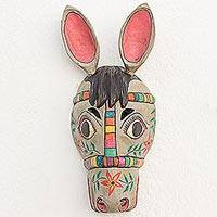 Wood mask, 'Todos Santos Racehorse' - Artisan Crafted Guatemalan Folk Art Horse Mask