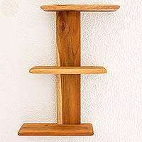 Teak shelf, 'Nature's Stairway' - Handcrafted Natural Teakwood Contemporary Shelf