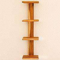 Teak shelf, 'Nature's Ladder' - Symmetrical Contemporary Shelf Handcrafted of Natural Teak