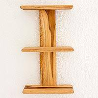 Teak shelf, 'Nature's Symmetry' - Artisan Crafted Contemporary Shelf in Natural Teakwood