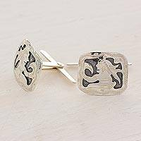 Sterling silver cufflinks, 'Mayan God' - Hand Crafted Sterling Silver Cufflinks with Mayan God