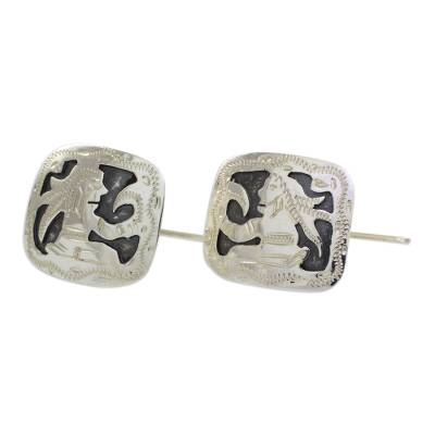 Hand Crafted Sterling Silver Cufflinks with Mayan God