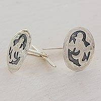 Sterling silver cufflinks, 'Quetzal Magic' - Guatemalan Handmade Sterling Silver Cufflinks with Quetzal
