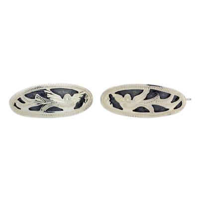 Guatemalan Handmade Sterling Silver Quetzal Cufflinks