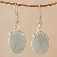 Jade dangle earrings, 'Jade Essence' - Artisan Crafted Jade and Sterling Silver Dangle Earrings