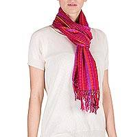 Cotton scarf, 'Valley of the Berries' - Guatemala Handwoven Cotton Scarf in Bright Berry Colors