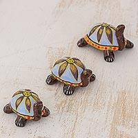 Ceramic sculptures, 'Flower Turtles in Blue' - Blue Ceramic Sculptures Turtles (Set of 3) from Guatemala
