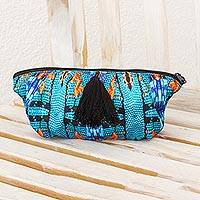 Cosmetics bag, 'Santa Catarina' - Turquoise Chiffon Huipil Inspired Handcrafted Cosmetic Bag