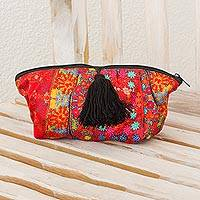 Cosmetics bag, 'Patzun Flowers' - Floral Red Chiffon Handcrafted Maya Theme Cosmetic Bag