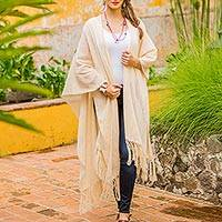 Natural cotton ruana cloak, 'Rabinal Ivory' - Handwoven Long Ruana Cape in Natural Ivory Cotton