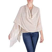 Natural cotton shawl, 'Rabinal Ivory' - Guatemalan Handwoven Natural Ivory Cotton Shawl