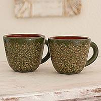 Ceramic mugs, 'Ometepe Island' (pair) - Two Geometric Green Ceramic Mugs from Nicaragua