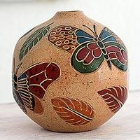 Ceramic decorative vase, 'Butterfly Charm' - Hand Crafted Decorative Ceramic Vase with Butterfly Motif