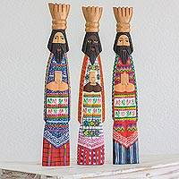 Wood sculptures, 'Three Wise Kings' (set of 3) - Hand Carved Three King Sculptures in Guatemalan Dress