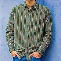 Men's cotton shirt, 'Grove of Coban' - Men's Green Striped Long Sleeve Handwoven Cotton Shirt
