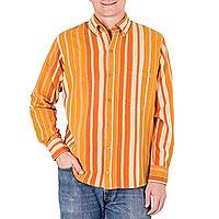 Men's cotton shirt, 'Pacific Sun' - Men's Handwoven Long Sleeve Orange and Yellow Cotton Shirt