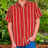 Men's cotton short sleeve shirt, 'Volcano of Fire' - Men's Short Sleeve Red Striped Cotton Shirt from Guatemala