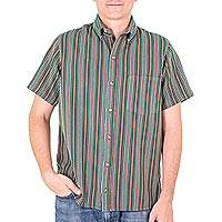 Men's cotton short sleeve shirt, 'Grove of Coban' - Men's Green Striped Cotton Short Sleeve Shirt from Guatemala