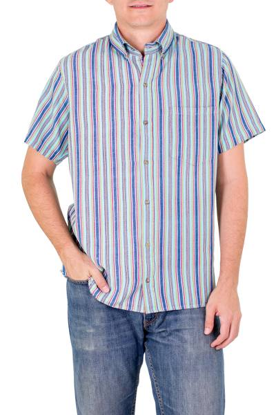 Mens cotton short sleeve shirt, Tikal Sky