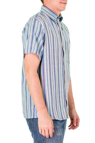 Men's cotton short sleeve shirt, 'Tikal Sky' - Men's Striped Guatemlan Handwoven Cotton Short Sleeve Shirt