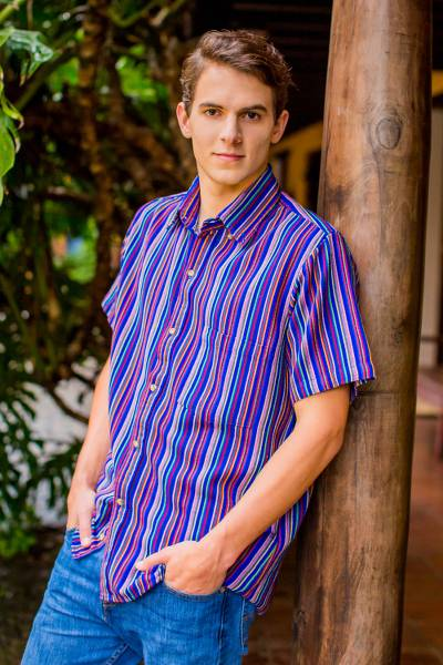 Men's cotton short sleeve shirt, 'Colorful Guatemala' - Men's Colorful Handwoven Cotton Short Sleeve Shirt