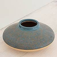 Ceramic decorative vase, 'Northern Winds' - Artisan Crafted Decorative Blue and Beige Terracotta Vase