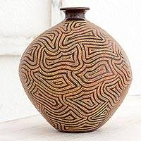 Ceramic decorative vase, 'Expansive Thoughts' - Handcrafted Decorative Ceramic Vase with Geometric Motifs