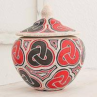 Ceramic decorative jar, 'The Edge of Infinity' - Hand Made Ceramic Jar with Lid Infinity Motif Nicaragua