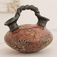 Ceramic decorative vessel, 'Frog Fiesta' - Frog Theme Handcrafted Terracotta Ceramic Decorative Vessel