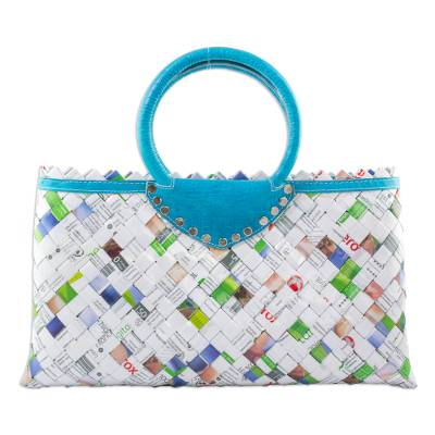 Eco Fashion Handbag Upcycled Wrappers and Leather
