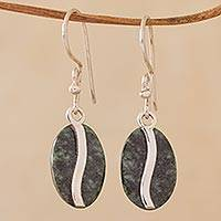 Jade dangle earrings, 'Dark Green Coffee Bean' - Dark Green Jade and Sterling Silver Contemporary Earrings