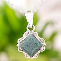 Jade pendant necklace, 'Light Green Floral Diamond' - Diamond Shaped Light Green Floral Jade and Silver Necklace
