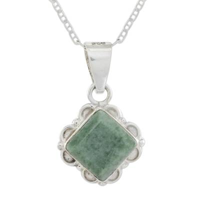 Diamond Shaped Light Green Floral Jade and Silver Necklace