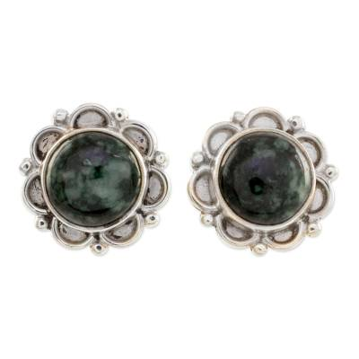 Sterling Silver Floral Button Earrings with Dark Green Jade