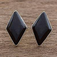 Jade button earrings, 'Midnight Maya Diamond' - Modern Guatemalan Black Jade Post Earrings