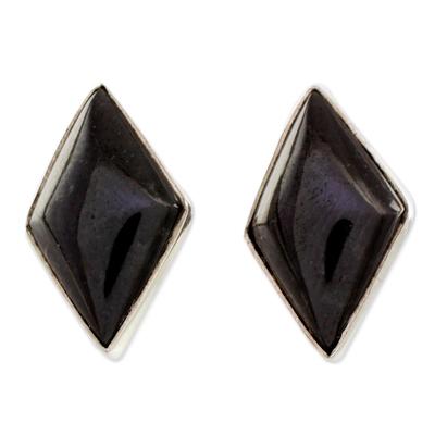 Modern Guatemalan Black Jade Post Earrings
