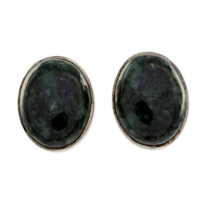 Modern Maya Jade Post Earrings with Sterling Silver