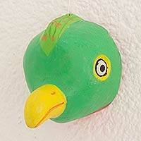 Wood mask, 'Guatemalan Quetzal Bird' - Green Pinewood Folk Art Bird Mask from Guatemala
