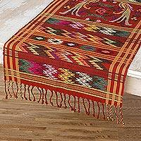 Cotton table runner, 'Terracotta Quetzal' - Bird Theme Backstrap Handwoven Table Runner in Terracotta