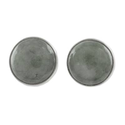 Circular Light Green Guatemalan Jade Stud Earrings