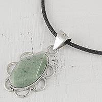 Jade pendant necklace, 'Rhombus Flower' - Light Green Guatemalan Jade and Sterling Silver Necklace