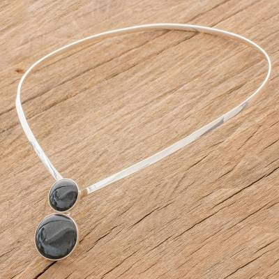 Jade pendant collar necklace, 'Dark Planets' - Jade and Sterling Silver Collar Necklace from Guatemala