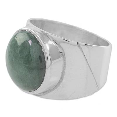 Jade and Sterling Silver Dome Ring from Guatemala