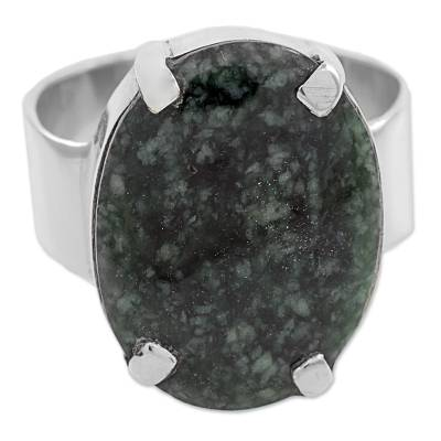 Dark Green Guatemalan Jade on Handmade Wide 925 Silver Ring